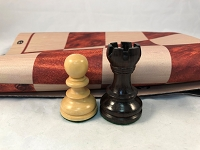 Rosewood Weighted Chess Set w/ Wood Grain Floppy Chess Board 025