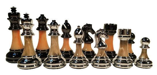 Classic Staunton Metal & Marbled Acrylic Chess Pieces