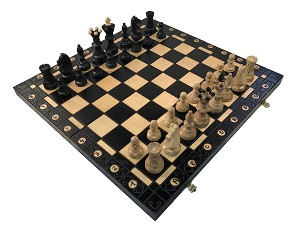 "Ambassador Chess Set - 21"" Folding Board - Black - 4 1/4"" King"
