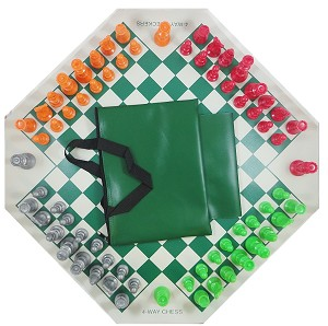 4 Way Chess Set - Board , 4 Sides Color Chess Pieces & Bag