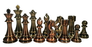 "Metallic Chess Pieces - Copper & Brass Woodtek  - 4.25"" King"