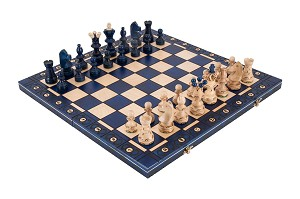 "Ambassador Chess Set - 21"" Folding Board - Blue - 4 1/4"" King"