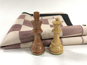 European Babul Wood Weighted Chess Set  w/ ELM Wood Grain Floppy Board