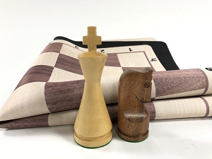 Modern Babul Wood Weighted Chess Set  w/ Elm Wood Grain Floppy Board