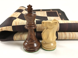 Ultimate Anjun Quadruple Weight Wood Chess Set w/ Black Burl Grain Floppy Board
