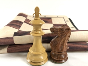Fleur-de-lis Babul Wood Weighted Chess Set  w/ Wood Grain Floppy Board