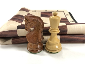Olde Russian Babul Wood Weighted Chess Set  w/ Rosewood Grain Floppy Board
