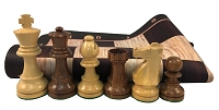 Staunton Sheesham Wood Weighted Chess Set  w/ Wood Grain Floppy Board