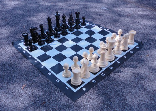 Plastic Giant Garden Chess Set Vinyl Board 8 King