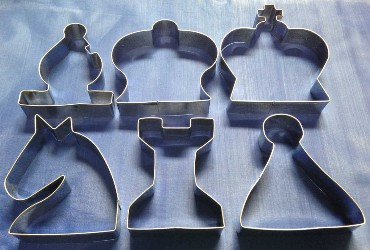 Set of 6 Chess Cookie Cutters - K, Q, B, N, R & P