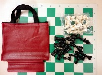 VINYL BAG CHESS COMBO -  Vinyl Bag w/ Loop / Board / Chess Set