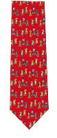 Chess Tie - Small Pieces - Red