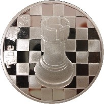 The Rook - 1 Troy Oz .999 Silver Round Chess Coin - 1 9/16