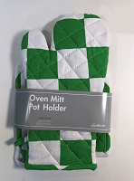 Oven Mitt & Pot Holder - Green & White - 100% cotton