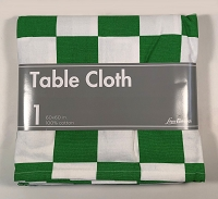 Chess Table Cloth - Green & White - 100% cotton - 60X60 inch