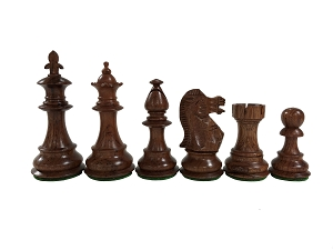 Fleur-de-lis Chess - Sustainable Anjun Wood, Weighted, 3 3/4 in. K, 4Q