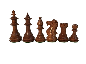 Fleur-de-lis Babul Wood Chess Set - 4 Queens - K 3 3/4 in. - Weighted