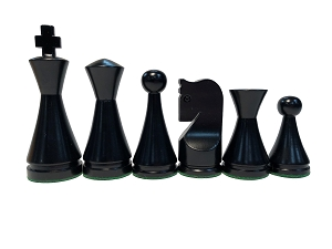 Modern Ebonized Wood Chess Set - 4 Queens, 3X Weighted - 4 in.King
