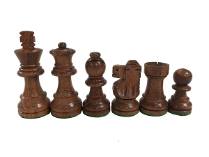 Wood Analysis Chess Set & Pouch- 2.5 in. K - Xtra Queens