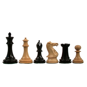 Colonial Staunton Chessmen – Triple Weighted & Handpolished Black Stained Wood with 4 in. King