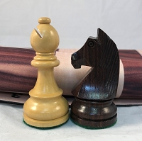 European Rosewood Weighted Chess Set  w/ Wood Grain Floppy Board