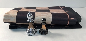 Metal & Marbled Acrylic Chess Pieces with Wood Floppy Board
