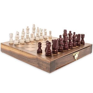 Travel Inlaid Hardwood Chess Set & Magnetic Pieces