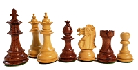 Fleur-de-lis Anjun Wood Chess Set - 4 Queens - Weighted - 3 3/4