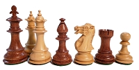 Fleur-de-lis Babul Wood Chess Set - 4 Queens - Weighted - 3 3/4