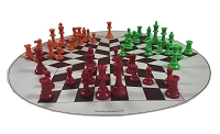 3 WAY CHESS COMBO: 3 Sides Chess Pieces , Board , Bag