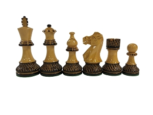 Trudeau Burnished Wood Chess Set - 4 Queens - Weighted - 4 in.King
