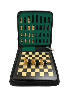 Mini Ebonized Wood Magnetic Travel Chess Set - 6