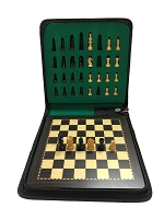 Small Ebonized Wood Magnetic Travel Chess Set - 7 3/4 x 7 3/4