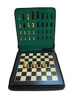 Medium Ebonized Wood Magnetic Travel Chess Set - 9 3/4 X 9 3/4