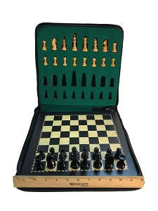 Large Ebonized Wood Magnetic Travel Chess Set - 11 3/4 x 11 3/4