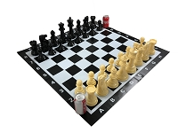 GIANT GARDEN CHESS SET + Vinyl Board 8 in.King Plastic