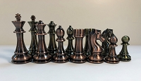 Copper & Brass Satin Finish Chess Set - 4X Weight, 4.25 in. King