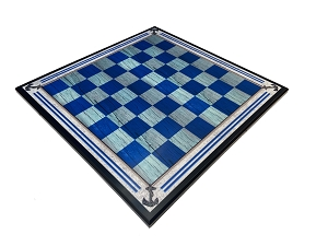 Nautical Wood Chess Board - Blue washed 2