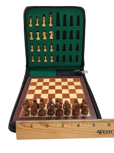 Mini Babul Wood Magnetic Travel Chess Set - 6 in.X 6