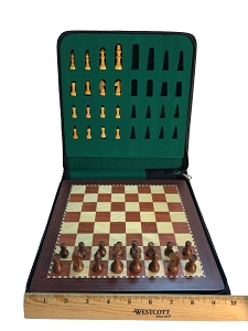 Medium Babul Wood Magnetic Travel Chess Set - 9 3/4 X 9 3/4