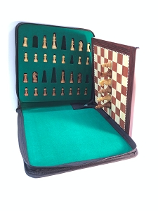 Large Babul Wood Magnetic Travel Chess Set - 11 3/4 x 11 3/4