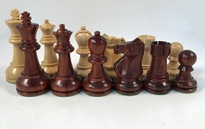 "Red Sandalwood Ultimate Staunton Chess Pieces – 3.7"" King - Heavily Weighted Chess Set"