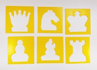 Chess Piece Stencil Set -  Yellow Plastic