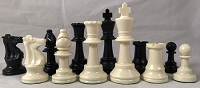 Club - Special Black & White Plastic Chess Pieces - 3.75