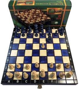 Wood Magnetic Chess Set: 10 1/2 in. Folding Board - 2 in. King - Blue
