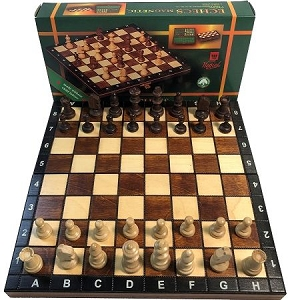 Wood Magnetic Chess Set: 2 in. King - Folding - Brown