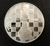 The Queen - 1 Troy Oz .999 Silver Round Chess Coin - 1 9/16