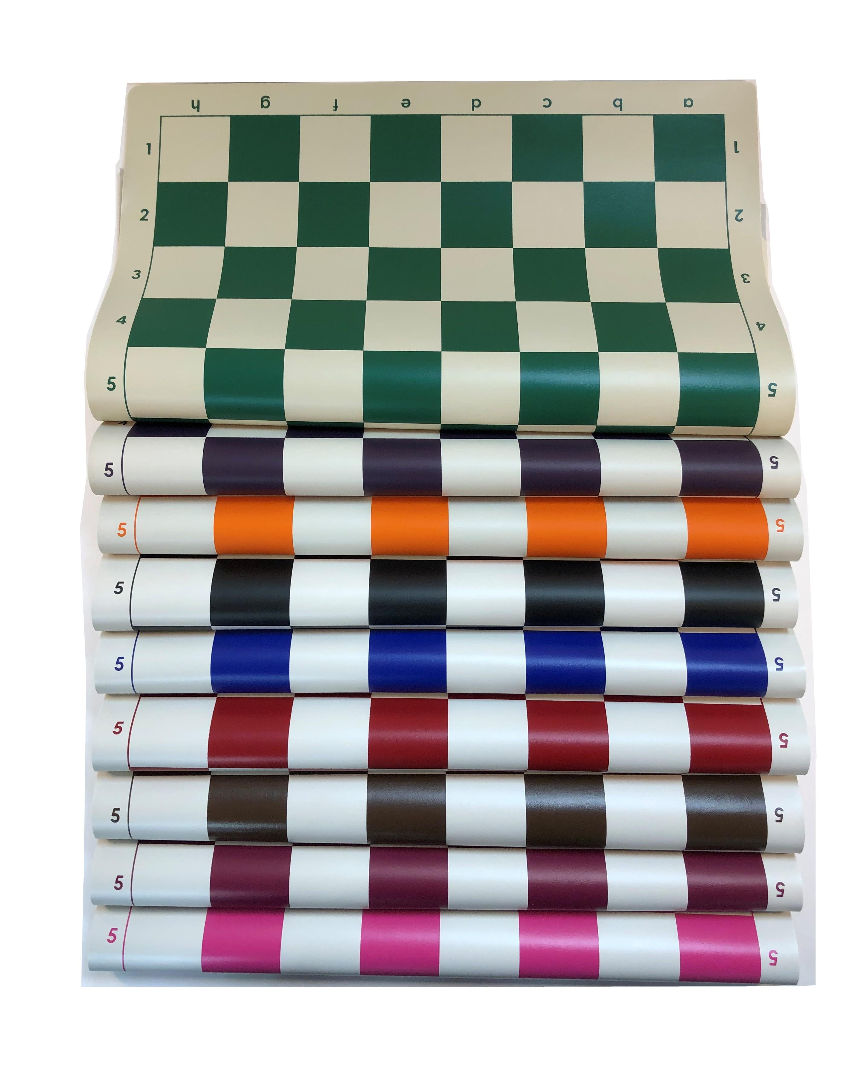 20 x 20 Blue Standard Vinyl Roll-Up Tournament Chess Mat