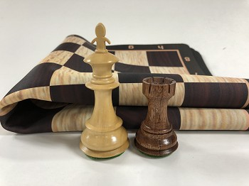 Fleur-de-lis Anjun Wood Weighted Chess Set  w/ Black Burl Floppy Board