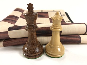 Ultimate Babul Wood Chess Set w/ Rosewood Grain Floppy Board